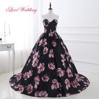 Sexy sfera dell'innamorato abiti neri Fiori Prom abito Cheap Lace Up partito Vintage abiti di sera vestito dal tappeto rosso dei vestiti convenzionali