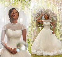2018 Nuovi abiti da sposa Ball Gown Collo alto maniche con maniche Paillettes Appliques in rilievo Tulle Abito da sposa nero Abiti da sposa Nigeria africana