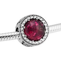 Belle's Radiant Rose Charm Cerise Cristalli CZ 2017 Primavera 100% 925 Sterling Silver Bead Fit Pandora Braccialetto Autentico FAI DA TE Gioielli di moda