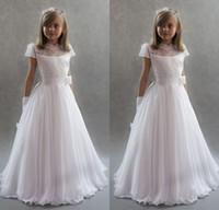 Mais Adorável Manga Curta Bonito Vestidos Da Menina de Flor para o Casamento Do Vintage Branco Chiffon Lace Princesa Crianças Comunhão Dres Lace-Up