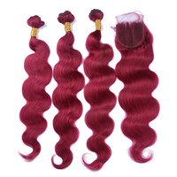 Peruvian Body Wave Human Hair 3 Bundles With Lace Closure Bu...