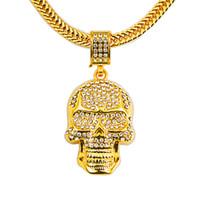 حار بارد قلادة الجمجمة الذهبية فراغ التصفيحات الشخصية قلادة النساء والرجال هالووماس مجوهرات اكسسوارات هدايا