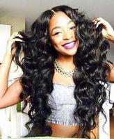 Novo Chegando Simulação Humano cabelo solto onda completa peruca preta para mulheres negras em estoque
