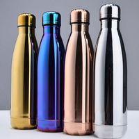 Nueva taza de agua Taza aislante 500 ML Botella de vacío Deportes 304 Cola de bolos de acero inoxidable Forma Tazas de viaje 4 colores DHL WX-C19 gratis