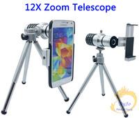 Universal del teléfono lente de zoom 12X telescopio del zumbido del trípode de la cámara teleobjetivo Objetivo de la lente para Samsung S3 S4 S5 Mini Activo A7 / para Nexus 5/6/7