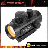 FIRE WOLF 1x40 Caza Tactical Holográfica Visores de luz Puntos verdes rojos Vista óptica Alcance ajustable Rifle Gun Scope