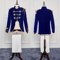Herren Kostüm Kostüm Königsblau General Mittelalterliche Bühnenperformance / Prinz Bezaubernde Fee William / Bürgerkrieg / Colonial Belle