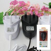 mur de charge Chargeur adaptateur secteur DC avec câble UK Plug 5V 1A pour iPhone Android Adaptateur Voyage d'alimentation boîte suspendue emballage de vente au détail