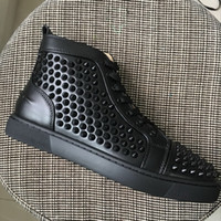 2018 New Mens Womens Black Genuine Leather With Spikes High ...