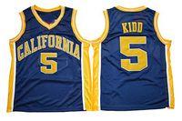 Erkek Kaliforniya Golden Ayı Jason Kidd Koleji Basketbol Forması Vintage # 5 Lacivert Jason Kidd Gömlek Üniversitesi Dikişli Formalar S-XXXL