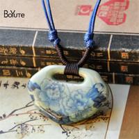 اكسسوارات BoYuTe 1 قطعة اليدوية قابل للتعديل حبل سلسلة الفاوانيا زهرة اللوتس قلادة السيراميك والمجوهرات قلادة خمر المرأة