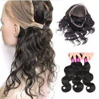 El pelo de la onda del cuerpo del cabello virgen brasileño teje 360 de encaje frontal con paquetes de cabello humano 360 encaje frontal