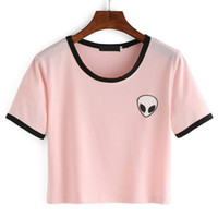 Al por mayor de la buena calidad de la impresión 3D Extranjeros Crop Top de manga corta camiseta Mujeres Camisetas Adolescentes camisetas casuales las mujeres del verano de las tapas