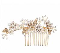 Rose Gold Pente Headpiece Acessórios Para o Cabelo de Casamento Nupcial Jóias de Cristal Strass Coroa Tiara Pérola Cocar Princesa Rainha Partido Jóias