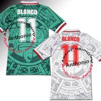 1998 Meksika Retro Futbol Formaları Vintage Blanco 11 Hernandez 15 Garcia 10 Sanchez Tayland De Kalite Futbol Jersey Gömlek Nakış Kiti Camiseta 98 Futbol Gömlek