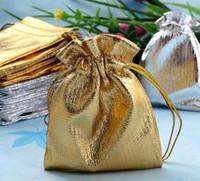 شحن مجاني 100 قطعة / الوحدة 70 * 50 ملليمتر 2 ألوان الذهب والفضة الزفاف هدية حقيبة الرباط مجوهرات الحقيبة حقيبة هدية الزفاف الساخن