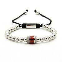 Fashion Pandora Bracelet en gros 6 mm de bonne qualité Beads d'argent avec des bracelets tressés rouges et verts roses roses pour hommes et femmes