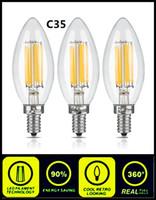 LED Волокно Свеча Лампочка 2W 4W E12 E14 E27 E26 B15 B22 высокого качества Энергосберегающие лампы для люстры C35 C35T Dimmable свечи лампы