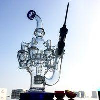 Tubos reciclado del vidrio Bongs Con Matrix Perc Agua plataformas petrolíferas Con 14mm conjunta pulpo armas de cristal DAB plataformas OA01-4