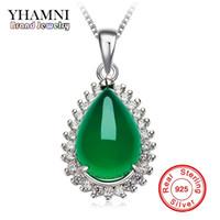 Yhamni الأصلي الطبيعية جوهرة الأخضر الملايو ستون قلادة 925 فضة قلادة الأزياء كريستال قلادة قلادة المجوهرات بالجملة XD276