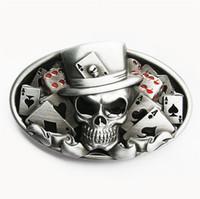 Oval de la vendimia hombres hebilla de cinturón de Nueva original esmalte Dados del tatuaje del cráneo Poker Casino cinturón de hebilla de cinturón-CS036 también acción en los EEUU