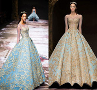 Luxury Gold Lace Long Sleeve Evening Dresses Vintage Sky Blue Michael Cinco Sheer Neck Saudi Arabia Plus Size Occasion Prom Dress