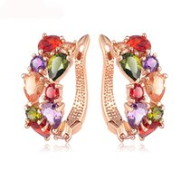 Top Sale New Flower Earrings Rose Gold Color Multicolor Cubi...