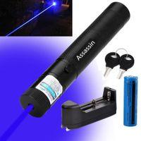 301 Leistungsstarker blauer violetter Laser-Stift-Zeiger 405nm strahlen hellblauer violetter Laser + 18650 Akku + Ladegerät