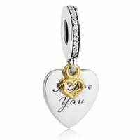 Liebe dich für immer Anhänger Charms S925 Sterling Silber passt DIY Schmuck Armbänder 792042cz H7