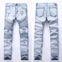 BIKER GD JEANS Hommes drapées Jeans long Printemps Automne Crayon Pantalons trous extensible Skinny Slim Porter des vêtements goussets design
