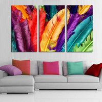 Framed Hot Sell 3 panels Colorful Feather, Pure Handpainted H...