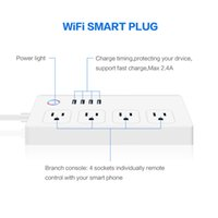 Smart WIFI Plug Outlet 4 Standard US Plug Smart Bande Power Socket Accueil Timing Compatible avec Alexa Echo Auto Commutateur App Télécommande