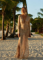 Sexy Beach Cover Ups Free Size Solid Colir Knitted Panelled ...