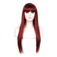 WoodFestival des femmes de longues perruques de cheveux raides chaleur bordeaux cheveux en fibres synthétiques résistantes perruques noires de lin brun avec une frange 70cm réalistes SOF