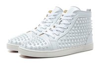 Mens red bottom Sneakers with Spikes High Top white leather ...