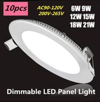 Kısılabilir 6 W / 9 W / 12 W / 15 W / 18 W / 21W CREE LED Gömme Downlights Lamba Sıcak / Doğal / Soğuk Beyaz Süper İnce LED Panel Işıkları Yuvarlak