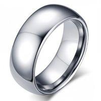 Klasik Erkek Gerçek Gümüş 18 K Beyaz Altın Kaplama 8mm Titanyum Çelik Kadın Erkek Alyans En Kaliteli Severler Severler Düğün Takı