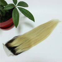Ombre Blonde cheveux humains corps droit vague Dentelle fermeture 1b / 613 Dentelle fermeture cheveux humains fermeture 4x4 pouces noeuds blanchis avec des cheveux de bébé