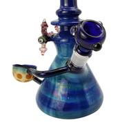 Grande bicchiere di vetro bong alti Belle tubi d'acqua bong tubo diritti blu variopinto fatto mano dab piattaforme petrolifere inebriante