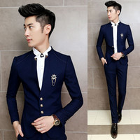 New 2PCS Set Slim Fit Prom Homme Men Costume Wedding Suits Classic Chinese Collar Party Dress Suits Boys Jacket with Pants