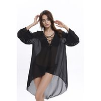 Sexy V Neck Donna Pareo Beach Cover Ups 2017 Manica lunga irregolare in chiffon Bikini Cover Ups Donna Nero Mini Beach Tunica Dress 9018