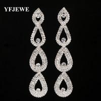 YFJEWE Yeni Tasarım Yılbaşı hediyeleri Moda lüks kristal damla küpe kadınlar takı için rhinestone kadınlar uzun küpe # E430