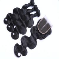 Бразильские волосы девственницы объемной волны соткут 3 пачки с закрытием шнурка Unprocessed малайзийский перуанский Индийский камбоджийский Remy закрытие человеческих волос