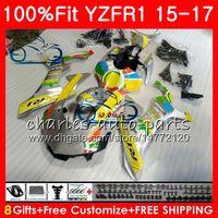 ヤマハYZF 1000 YZF-R1 15 17銀黄黄色YZF R1 2015 2016 2017 87NO32 YZF1000 YZF R 1 YZF-1000 YZFR1 15 16 17フェアリング