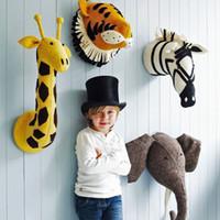Handmade 3D Animal Cabeça Brinquedos de Parede Decoração Flamingo / Girafa / Raposa / Tigre / Zebra / Elefante De Pelúcia Boneca Cabide de Parede Do Quarto Do Bebê Presentes de arte