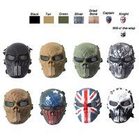 Equipaggiamento tattico Tiro all'aria aperta Sport Protezione facciale Equipaggiamento Full Face Tattico Airsoft Cosplay Gost Skull Mask