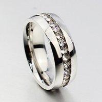 30pcs 실버 컴포트 맞는 라인 석 지르콘 스테인레스 스틸 결혼 반지 CZ 도매 보석 쥬얼리와 전체 동그라미