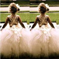 Belle ragazza abiti fiori per il matrimonio Nuovo principessa Tulle Birthday Party Comunione spettacolo del vestito Little Girls capretti / bambini si veste
