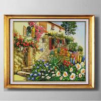 Jardim Villa beleza cabine, DIY handmade Cross Stitch Needlework Define pinturas bordados contados impressos em lona DMC 14CT / 11CT