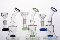 Boquilla coloreada. Mini bongs de vidrio con perc. Difusa. Manguitos de fumigación de pipas para fumar a mano con una junta de 14 mm.